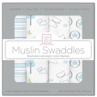Комплект 4 муслиновых пеленок SwaddleDesigns - Blue Thicket (118х118 см)