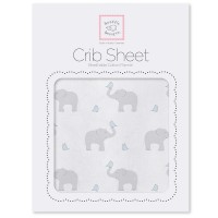 Простынь детская SwaddleDesigns Fitted Crib Sheet PB Elephant& Chickie