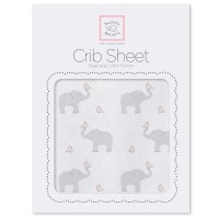 Простынь детская SwaddleDesigns Fitted Crib Sheet PP Elephant& Chickie