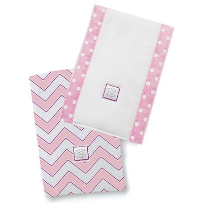 Полотенчики SwaddleDesigns Baby Burpie Set Pink/VB Trim Chevron